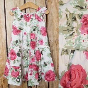 Gap Cabbage Rose Dress Tiered Muted Pink Green
